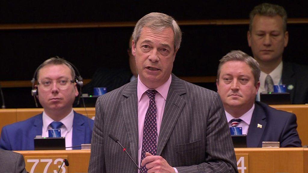 ブレグジット推進したファラージ氏「最後です」  欧州議会で別れの演説