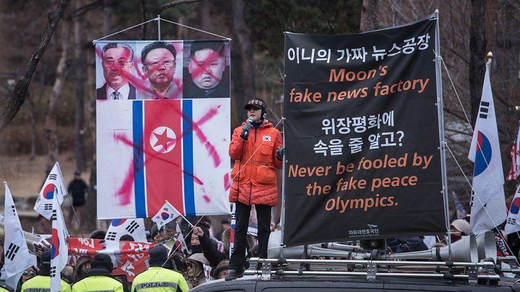 北朝鮮の融和「プロパガンダ」にソウルで抗議 「先制攻撃を」の声も