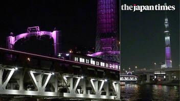 Illumination of Tobu Railways bridge over the Sumida River, Tokyo
