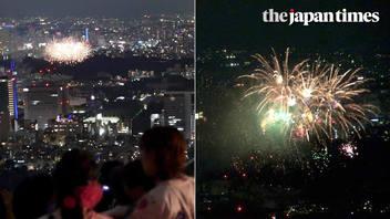 Jingu Gaien Fireworks Festival from atop Roppongi Hills