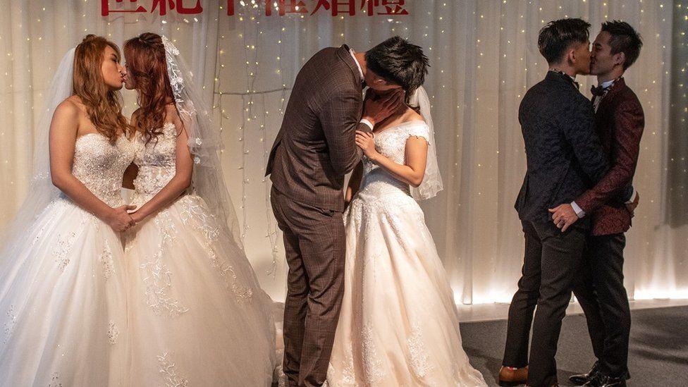 婚姻の平等祝う合同披露宴、同性婚合法化で 台湾