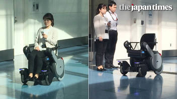 Autonomous wheelchair Whill Next demonstration at Tokyo's Haneda airport