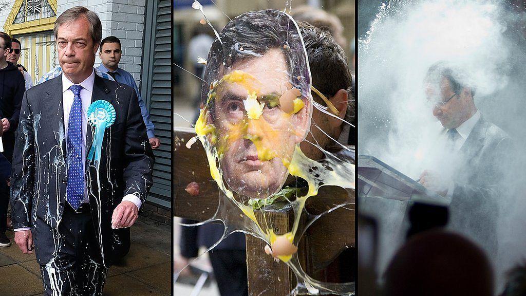 卵にネコ、ミルクシェイク……なぜ人は政治家にモノを投げつけるのか
