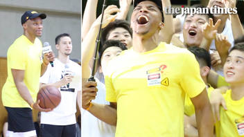 NBA superstar guard Russell Westbrook visits Tokyo