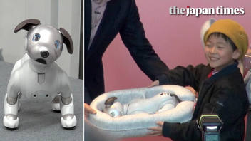 The new Aibo meets its new owner at Sony's Tokyo headquarters